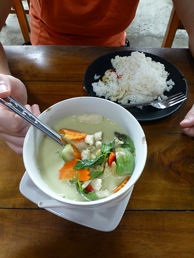 Delicious green curry served at Yam Yam Restaurant. Ran us 80 Baht ($2.50). It was so good we splurged.