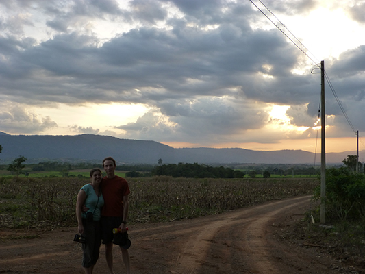 Sun setting at the farm where the bat cave entrance was.
