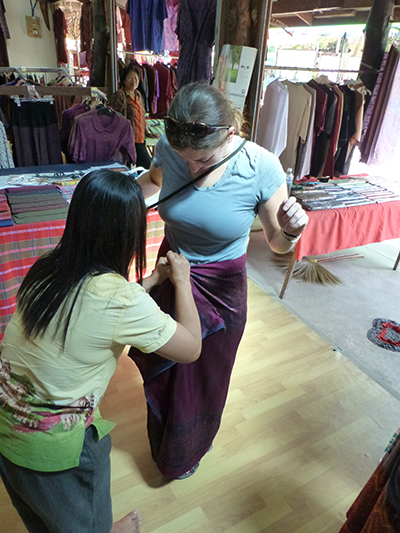 I tried on one of the silk skirts and asked them to tie it how they normally would have.