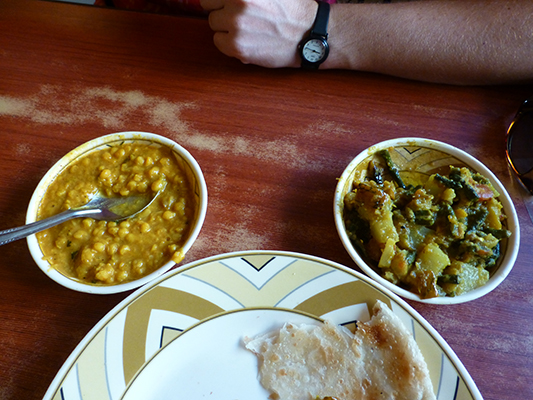 Breakfast a Radhuni. Lentils and vegetable curry with Chapati bread.