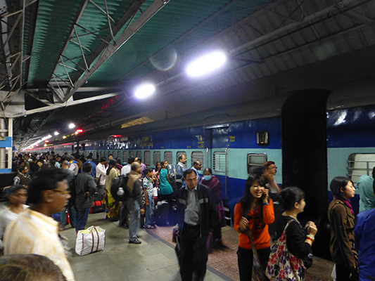 The train platform in Kolkata. Of course, people were eager to enter the train to get to their ASSIGNED SEATS!
