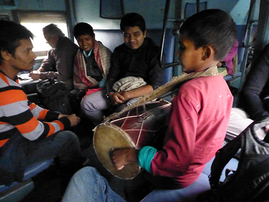 This young guy came through our train car to sing and drum in an effort to earn a little money. It worked.