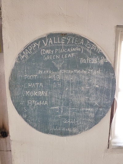 The chalk board where they listed which ladies were picking in which locations.