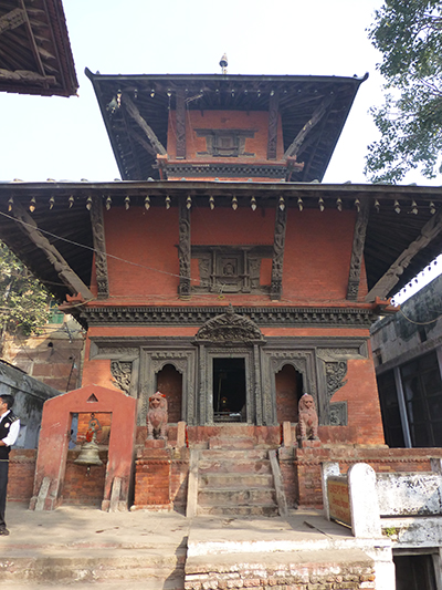 Nepalese Hindu temple: cow.