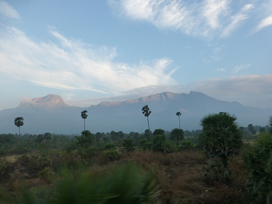We saw these mountains from the train in the southern part of India.
