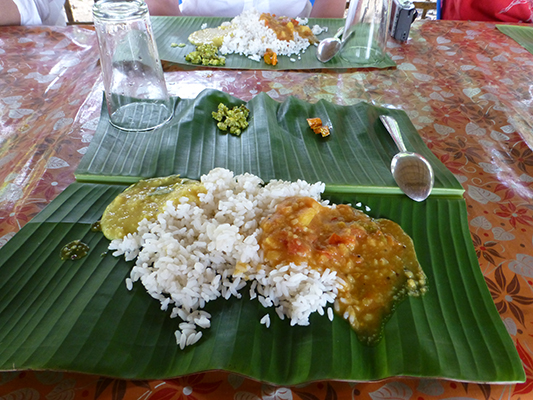 Traditional south Indian meal on a banana leaf.