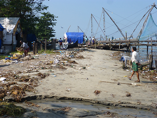 the fishing nets lined the beach.