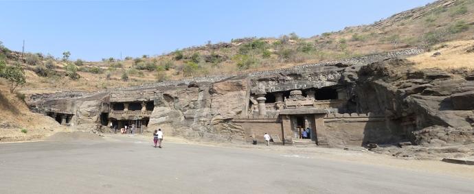 Panoramic shot of the Jain caves.