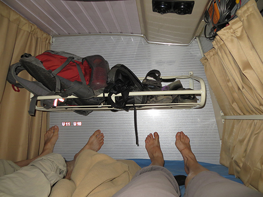 Inside the sleeper bus. Just enough room