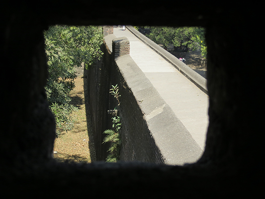 Looking through the gun hole.