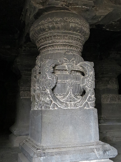 Pillar in cave 16. We saw this style of pillar in all the Hindu, Buddhist and Jain caves.
