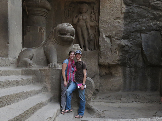 Sarah and I in a Hindu cave.