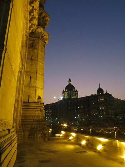 Night shot of the gateway of India and the Taj Mahal Hotel