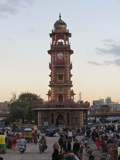 Clock tower in the center of the market in Jodhpur.