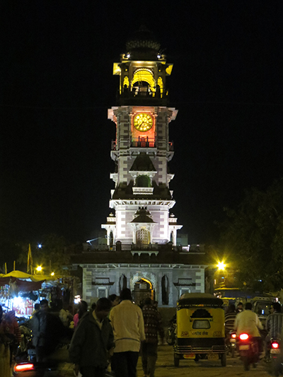 Night shot of the clock tower in Jodhpur.