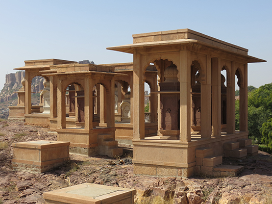 Tombs outside of the Jaswant Thada mausoleum.
