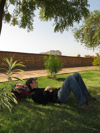 Relaxing on the grass outside of the Jaswant Thada mausoleum