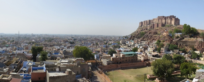 View of the city and fort from near the Jaswant Thada mausoleum.