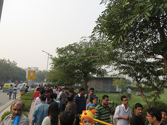 The line to enter the park.