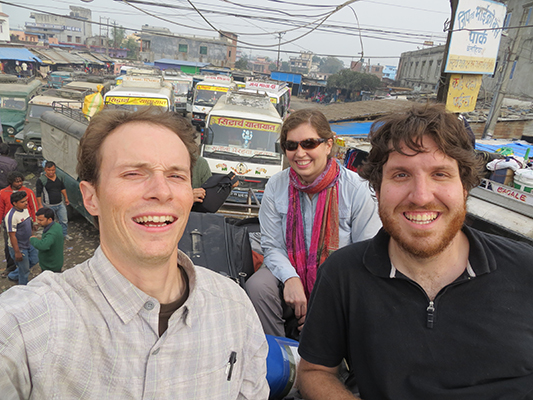 On top of the world/bus in Nepal with Jorge, Sarah and Giselle (hiding behind me). Oh yeah, the sun was in my face. Give me a break.