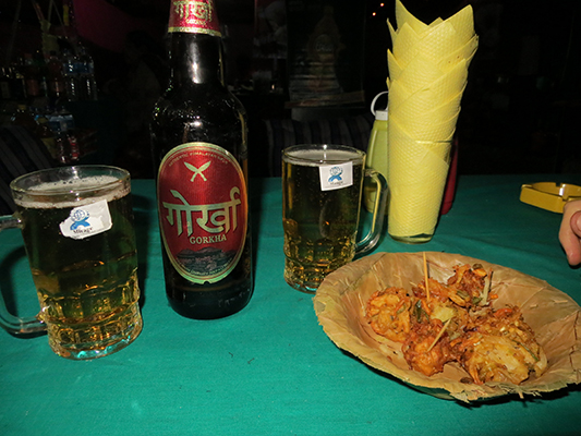 Gorkha beer and pakora.
