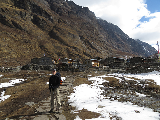 We didn't stay here but passed through Langtang village on our way up the valley. It was the biggest village in the valley, boasting a cheese factory and bakery. It gets its power from hydro and solar.