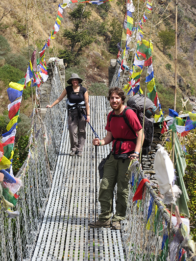A bridge decorated for the Tibetan New Year. There's a large Tibetan population living in these mountains.