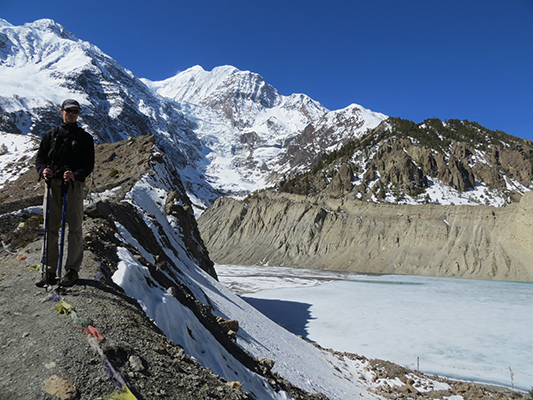 Day hike towards Gangapurna glacier and peak.