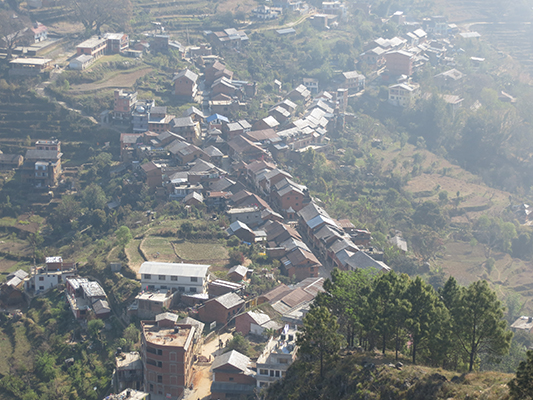 View of the main bazaar of Bandipur from above.