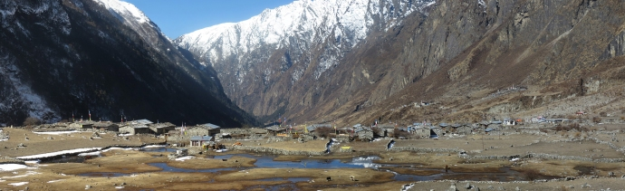 Panoramic of Langtang village.