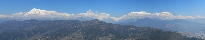 Annapurna range in the Himalayas.