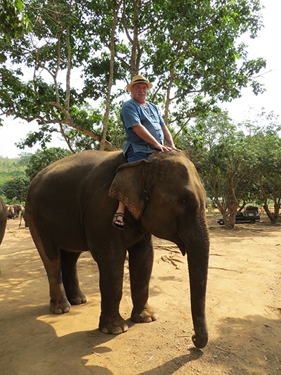 Dad practicing his elephant mahout skills.