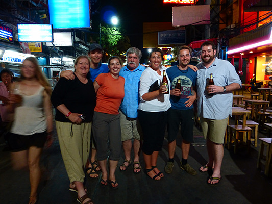 Khao San crew, from left to right: Karen, Dave, Sarah, Phil, Jen, Paul and Jonathan.