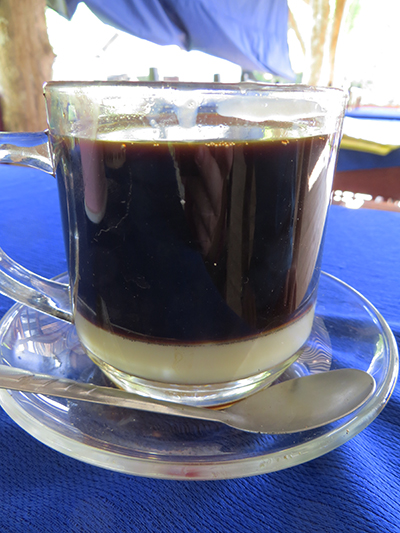 Laos has really good coffee (or so Dave says) and they serve it with condensed sweetened milk at the bottom.